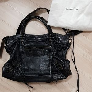 Auth balenciaga motorcycle city bag black